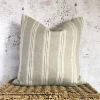 """Beige Linen Cushion Cover with White Stripes 16"""" x 16"""""""