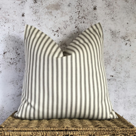 """Ticking Cushion Cover with Beige and Cream Stripes 16"""" x 16"""""""