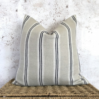 """Striped Linen Cushion Cover with Off White and Indigo Stripes 16"""" x 16"""""""