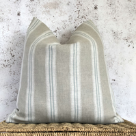 """Duck Egg Blue Striped, Washed French Linen, Cushion Cover 18"""" x 18"""""""