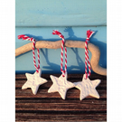Set of Three Porcelain Star Tree Decorations
