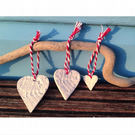 Set of Three Porcelain Heart Decorations (Graduating Sizes)