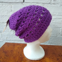 Purple Crocheted Hat, Beanie Hat, Unisex Hat