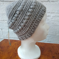 Soft grey beanie, crocheted hat, unisex hat