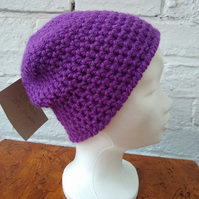 Soft Alpaca Purple Beanie, crocheted winter hat, unisex