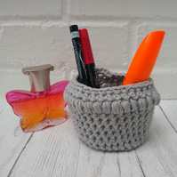 Grey crocheted basket, mini basket, desk tidy or plant pot cover