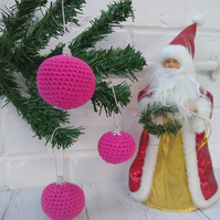 Pink crocheted bauble, alternative Christmas decoration, pet and child friendly