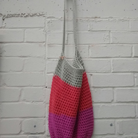 Large crocheted cotton bag