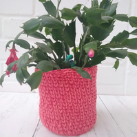 Pink and coral plant pot cover, small storage basket