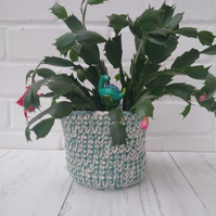 Cream and green plant pot cover, small storage basket