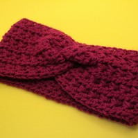 Deep Pink Crochet Twisted Headband Ear Warmer