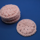 Pale Pink cotton face wipes, Make remover pads, reusable scrubbies
