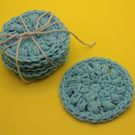 Blue cotton face wipes, Make remover pads, reusable scrubbies