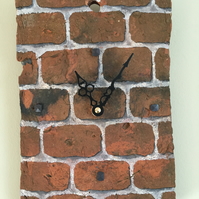 Clay Peg Tile up-cycled into unique Clock. Square brick.