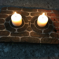 Clay Peg Tile up-cycled into unique table decoration for display of candles