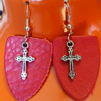 Red leather and Silver Tone Cross Earrings