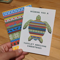 Turtle Christmas Jumper Card 2 Pack