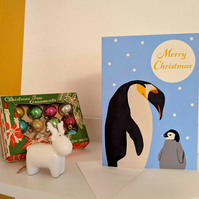 Penguin and Baby Christmas Card