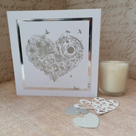 Silver Heart Valentine, Anniversary, Engagement Card