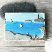 Pebble Seagull with pottery boats palletwood picture