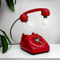 Upcycled 1960s Retro Vintage Red Rotary Telephone Lamp