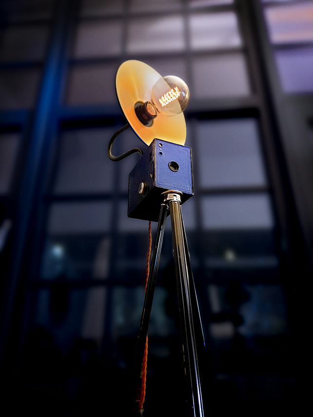 Upcycled Vintage 1920s Blue Kodak Brownie Camera Tripod Lamp