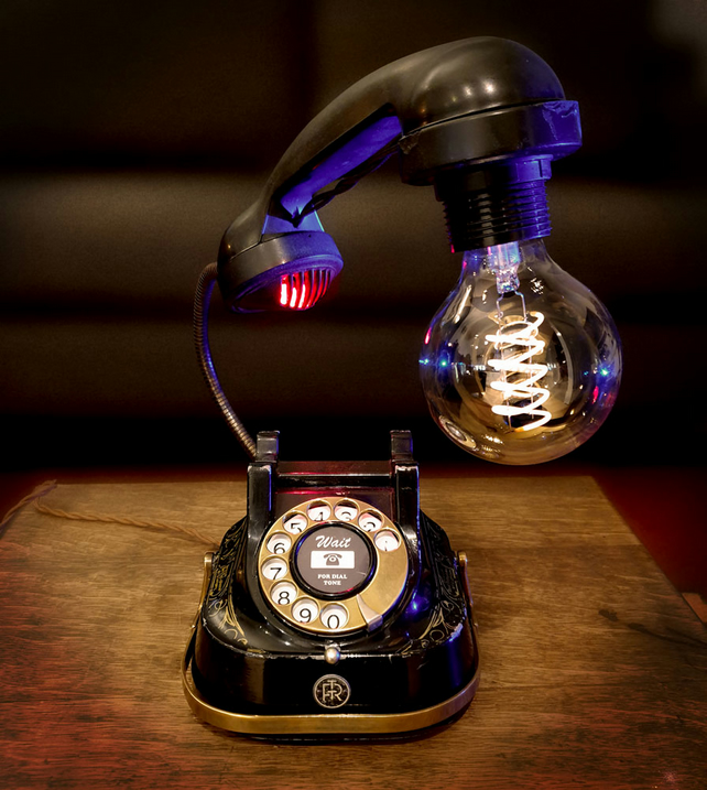 Upcycled Vintage Belgium Metal and Bakelite Telephone Lamp