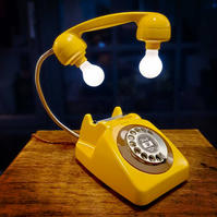 Upcycled Retro Vintage 1960s Rotary Telephone Lamp Yellow