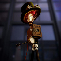 Upcycled Vintage 1920s Camera Steampunk Top Hat Tripod Lamp