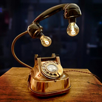 Upcycled Vintage Copper Belgium Telephone Lamp