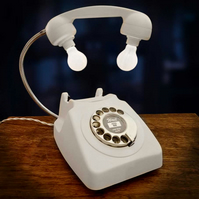 Upcycled Retro Vintage 1960s Rotary Telephone Lamp Matt White