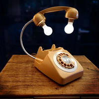 Upcycled Retro Vintage  Rotary Telephone Lamp Copper-Gold