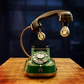 Upcycled Vintage Green & Brass Diecast Telephone Lamp