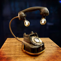 Upcycled Vintage Black and Brass Telephone Lamp