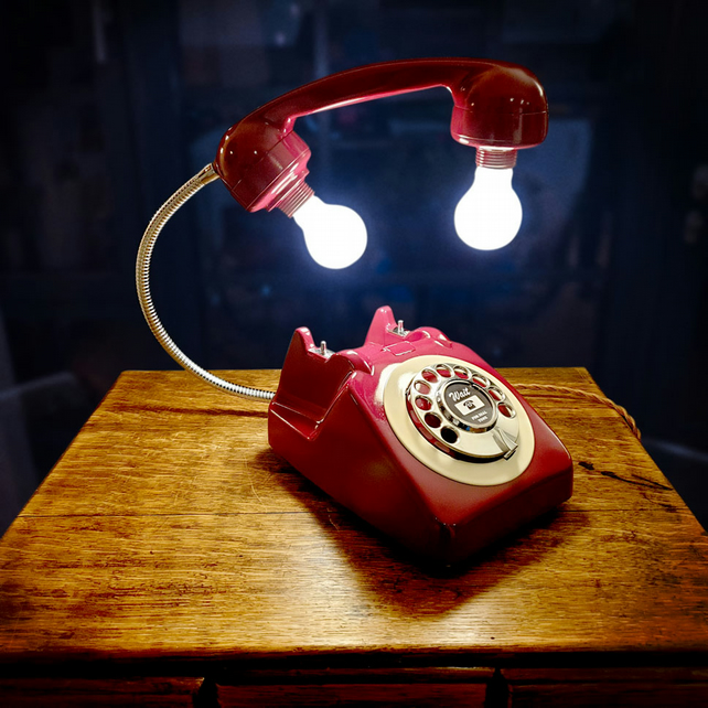 Upcycled Retro Vintage GPO 1960s Rotary Telephone Lamp Burgundy and Cream