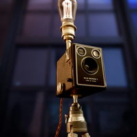 Upcycled Vintage 1940s Kodak Brownie Camera Edison Tripod Lamp