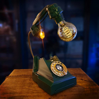 Upcycled Handmade Racing Green Vintage Bakelite Telephone Lamp