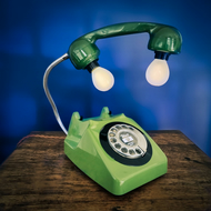 Upcycled Retro Vintage GPO Rotary Telephone Lamp Green