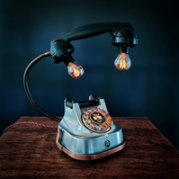 Upcycled Vintage Silver and Brass Telephone Lamp