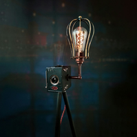 Upcycled Vintage 1920s Ensign Camera Tripod Lamp