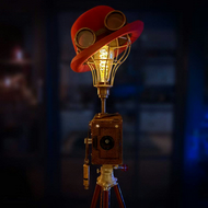 Handmade Upcycled Vintage 1920s Camera Steampunk Bowler Hat Tripod Lamp