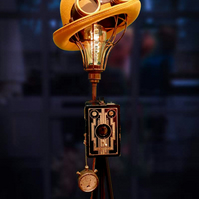 Handmade Upcycled Vintage Art Deco Camera Steampunk Bowler Hat Tripod Lamp