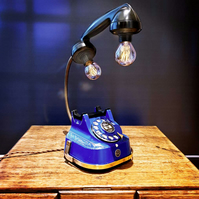 Handmade Upcycled Very Rare Vintage Blue & Brass Diecast Telephone Desk Lamp
