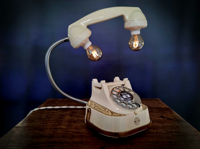 Handmade Upcycled Very Rare Vintage Ivory & Brass Diecast Telephone Desk Lamp