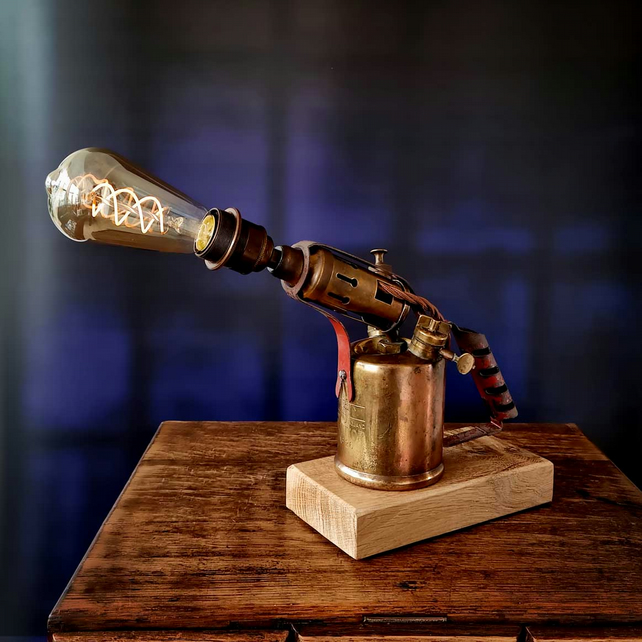 Upcycled Vintage 1950s Brass Blow Torch Lamp Edison Bulb