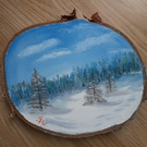 Winter Scene on Wood
