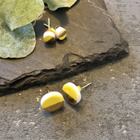 Ceramic button earrings - Lemon yellow