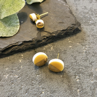 Ceramic button earrings - Honey yellow duo
