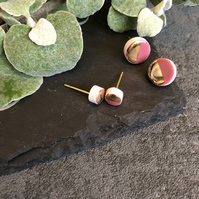 Ceramic button earrings - Purple duo