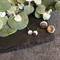Ceramic button earrings - Goose grey duo